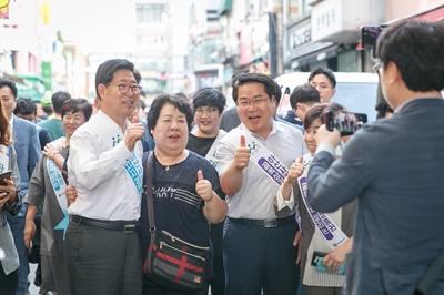 오세현 아산시장, 양승조 충남지사와 온양온천시장 방문 관련사진