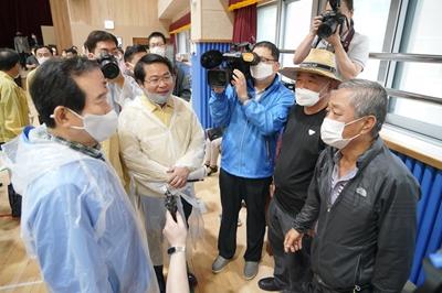 오세현 아산시장, 정세균 국무총리와 호우 피해지역 방문 관련사진