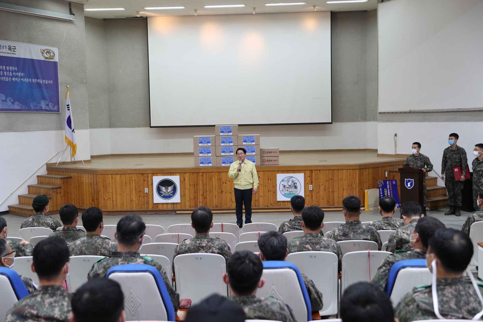 오세현 아산시장, 32사단 아산대대 방문 감사인사
